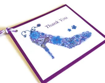 2 Gift Tags, High Heel Shoe Mandala Art, Blue Purple White, Hang Tags, Merchandise Tags