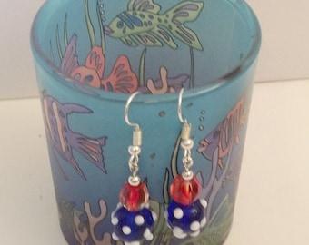 Red, White & Blue Lampwork Earrings