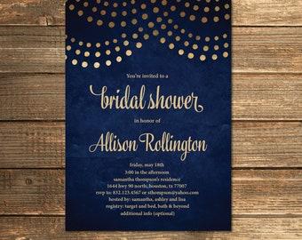 Navy Blue Bridal Shower Invitation, Navy and Gold, String Lights, Wedding Shower Invite, Navy Blue (PRINTABLE FILE)