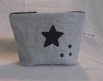 grey linen pouch applied black stars