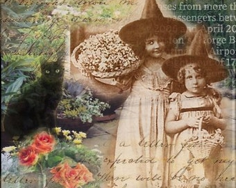 ZNE ATC ACEO - Little Miss Witches - Digital Collage Art by ruby