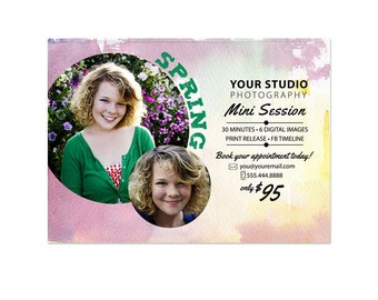 Spring Mini Sessions Template - 5x7 Spring Marketing Board 001 for Professional Photographers