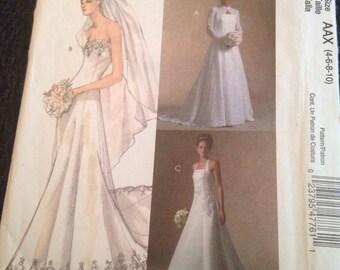 McCalls bridal elegance pattern M4776, sizes 4-6-8-10, sewing pattern
