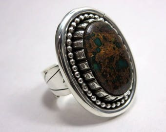Pilot Mountain Turquoise and Sterling Silver Ring, Size 9.  Southwestern jewelry, modern jewelry, boho ring