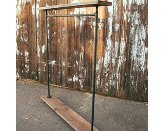 IRS - Double Shelf Pipe Clothing Rack  - Garment Rack - Industrial Furniture - Clothes Rack - Retail Display