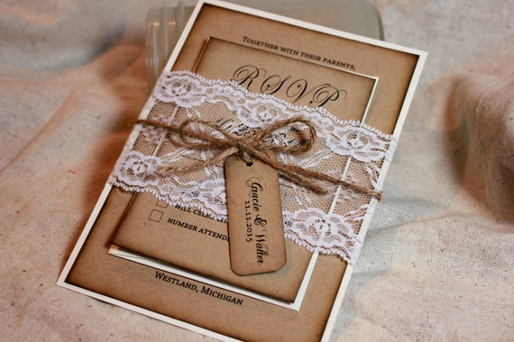 Rustic Wedding Invitations Lace and Kraft rustic wedding
