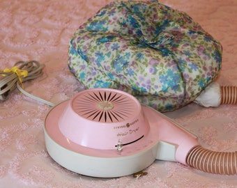 Vintage bonnet style hair dryer vintage hair dryer pink hair dryer