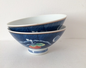 Asian Vintage, Porcelain Round Rice Bowls, Made in Japan, Set of 2, Blue and white porcelain