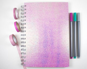 Square Grid Journal – Pink Holographic Journal – 6x9 inches – Bullet Journal – Grid Notebook – Gifts for Writers – Gifts for Planners