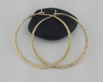 Extra Thick Hammered 14k Hoops, 16 Gauge Solid 14k Gold Hoops, Thick Gold Hoops, Hammered Gold Hoop Earrings, Solid 14k Hoops, Big Hoops
