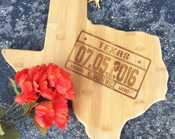 State Cutting Board, License,Texas,Personalized Cutting Board,Shower Gift,Wedding Gift,Anniversary Gifts,Housewarming Gift,Engrave