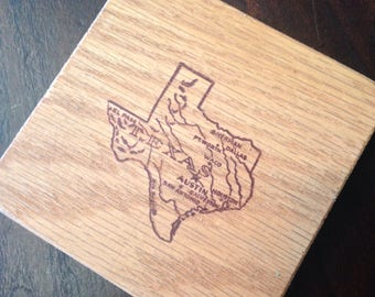 Rustic Texas Wood Coasters Set of Four Natural Wood MADE TO ORDER