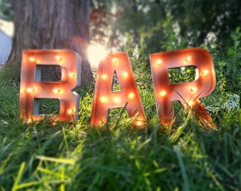 BAR Marquee Light Up Letter Lights Silver Rustic Decor