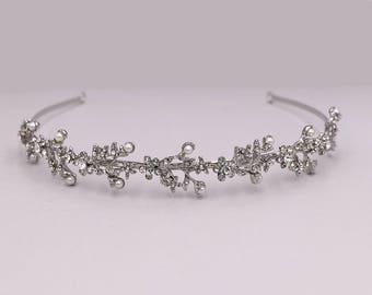 Rhinestone Crystal Pearl bridal headband, wedding headband, wedding headpiece, rhinestone tiara, Olivia Crystal Rhinestone Pearl Headband