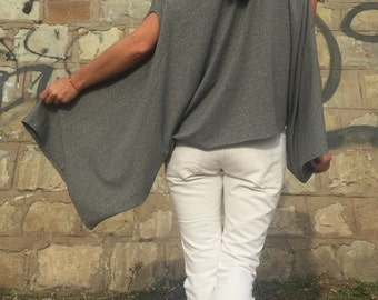 New Grey Versatile Top/Kimono Top/Plus Size Grey Top/Maxi Off The Shoulder Top/Extravagant Blouse/One Size Top