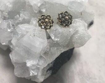 Brass sea gypsy mandala stud earrings