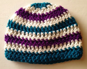 Striped Baby Beanie, Crochet Baby Hat, Striped Baby Hat, Purple And Teal Hat, Baby Girl Striped Hat, Handmade Baby Hat, Purple Baby Hat