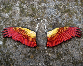 Phoenix wings Earrings - wood handmade jewelry