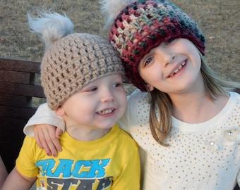 Chunky warm crochet winter beanie hat, adult winter hat, child winter hat, crochet hat