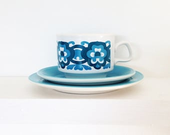 1970s retro floral cup and saucer set - Staffordshire pottery & Dinnerware Sets   Etsy UK