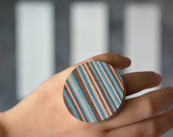 5th Wedding Anniversary ring, Free shipping, Geometric wooden ring, Circle, Blue and Brown Stripes, Statement jewelry, Fashion Design, Gift
