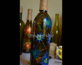 Blue Strawflowers - Spring Collection Bottle Art