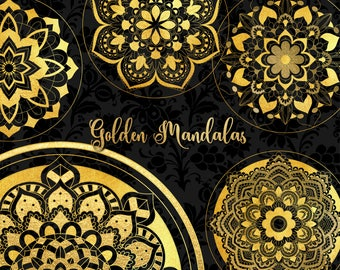 Gold Mandala Clipart, gold foil mandala, yoga designs, planner stickers, invitations, weddings, mandalas PNG instant download commercial use