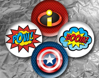 "Super Heroes -  15 Images in 1 Inch Circles 4"" x 6"" Digital Collage Sheet For Bottle caps, Cupcake Toppers"