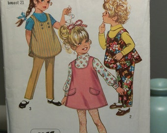 1969 Vintage Sewing Pattern- JUMPER and TOP- Child size 2