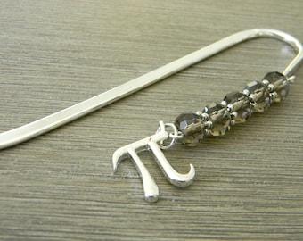 Pi Symbol Bookmark with Smoky Quartz Glass Beads Shepherd Hook Steel Bookmark Silver Color