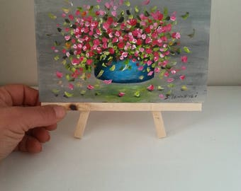 Pink flowers acrylic painting, Original flower painting, Miniature painting and easel, Hand painted on wood