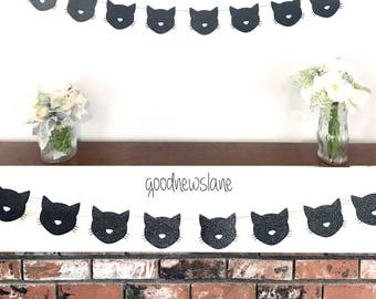 Any Color Kitty Cat Garland, Cat Banner, Cat Birthday Party Decoration, Kitty Cat Theme Party, Gold glitter Cat party, Meow Party Decoration