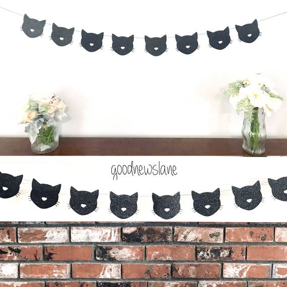 Cat Birthday Banner: Any Color Kitty Cat Garland Cat Banner Cat Birthday Party
