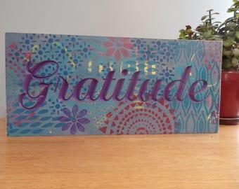 Gratitude Wooden Carved Sign