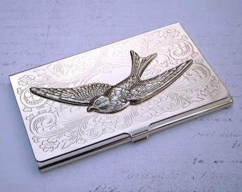Flying Bird Business Card Case Silver Card Case Silver Bird Case Silver Wings Woman's Card Case Victorian Card Case Fancy Card Case Slim