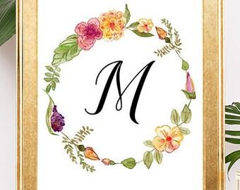 Customized Monogram, Baby Name Wall Art, Girl's Monogram, Nursery Art, Custom Monogram Wall Art, Floral Monogram, Nursery Wall Decor, Custom