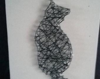 Black cat string art