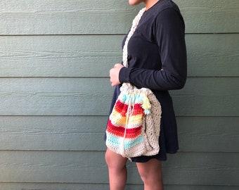 Beach or market bag, Ready to Ship bag,  crocheted multicolor handbag , chic accessories, yarn bag, knitting project bag, Ecofriendly