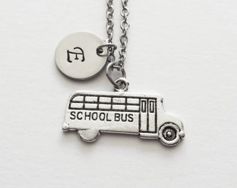 School Bus Necklace, Transport, Driver Gift, Bus Stop, Travel Jewelry, Silver Jewelry, Personalized, Monogram, Hand Stamped Letter Initial
