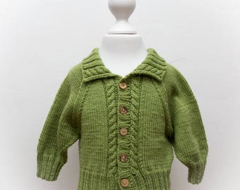 Hand Knit Cable Baby Cardigan -  12-18 months  - Lime Green - luxury Merino/Cashmere blend yarn, ready to ship