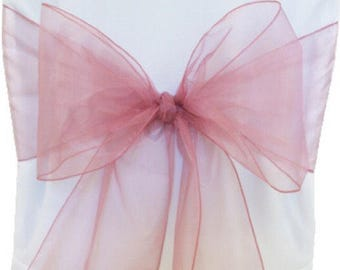 50x Dusty Pink Organza Chair Sashes Chair Bows Ties Wedding Banquet Ceremony Feast Birthday Anniversary Sheer Sashes Party Venue Decoration