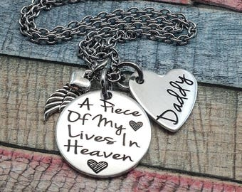 Memorial Jewelry, A piece of my heart lives in Heaven, dad, mom, son, brother, husband, memorial jewelry, memorial necklace, Custom Necklace