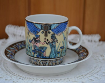 Vintage coffee can/demitasse and saucer bone china Art Deco coffee cup/ships worldwide from UK