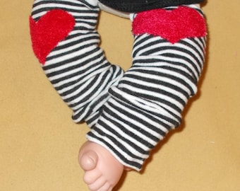 Leg warmer, Infant, Newborn-Valentine Heart on black stripe -infant leg warmer, newborn leg warmer, baby girl leg warmer, baby leg warmer