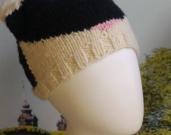 Cat within a hat - hand knitted beanie - ready to ship