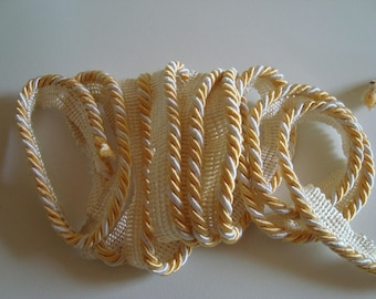 1.60 m piping bead braid nylon thread twisted yellow and white 15 mm wide