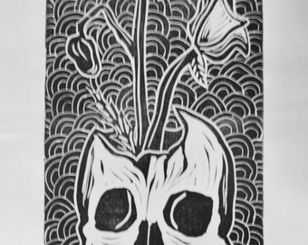 Skull with Poppies Linocut