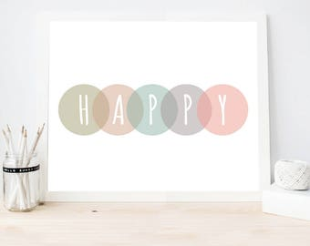 Modern nursery Art print, HAPPY Wall Art prints, Kids Pastel Room Decor, Happy Pastel digital Print, Instant download (BabyArt K2)