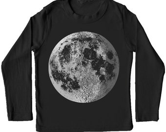 Moon Shirt, kids full moon tshirt, Silver Moon Shirt, Crescent Moon tee, Astronomy Space Shirt, Moon tshirt, moon screen print, Moon Clothes
