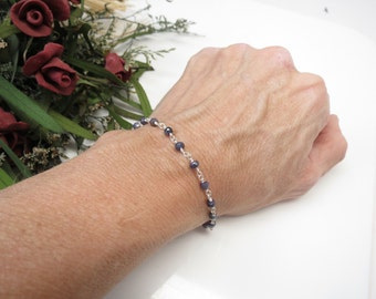 Blue Sapphire Bracelet, September Birthstone, Blue Gemstone, Wire Wrapped Sapphire Bracelet In Sterling Silver, 6 3/4 - 7 3/4 Inches